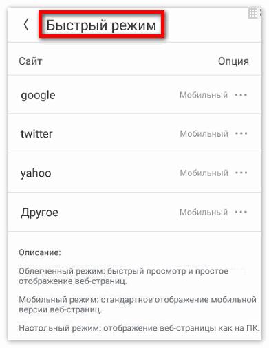 Быстрый режим в приложении Uc Browser