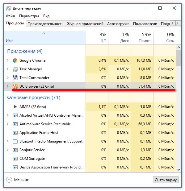 Нагрузка на ноутбук браузером Uc Browser