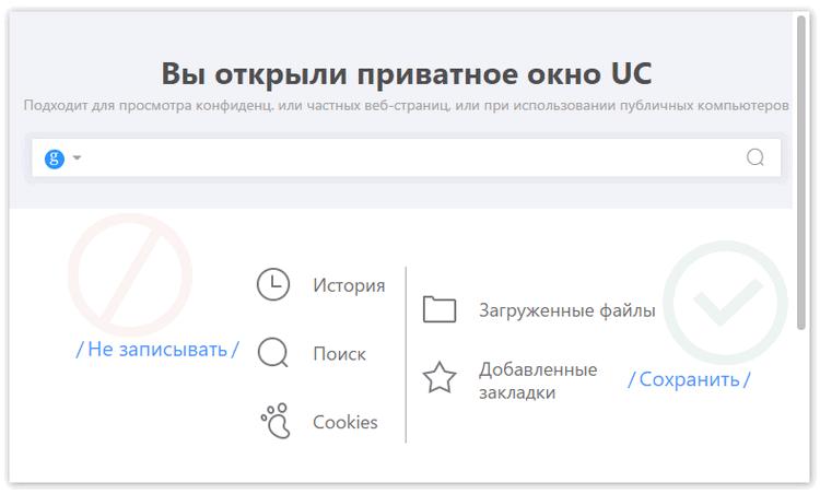 Окно инкогнито в Uc Browser