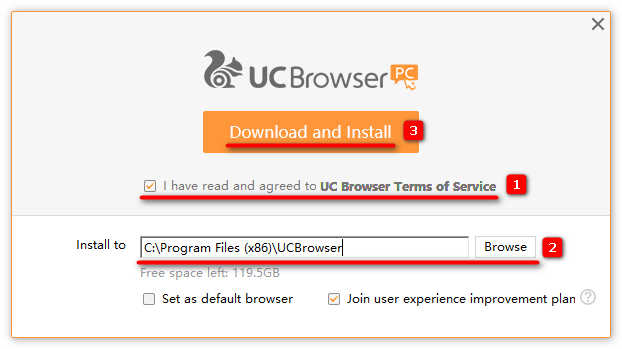Процесс установки программы Uc Browser